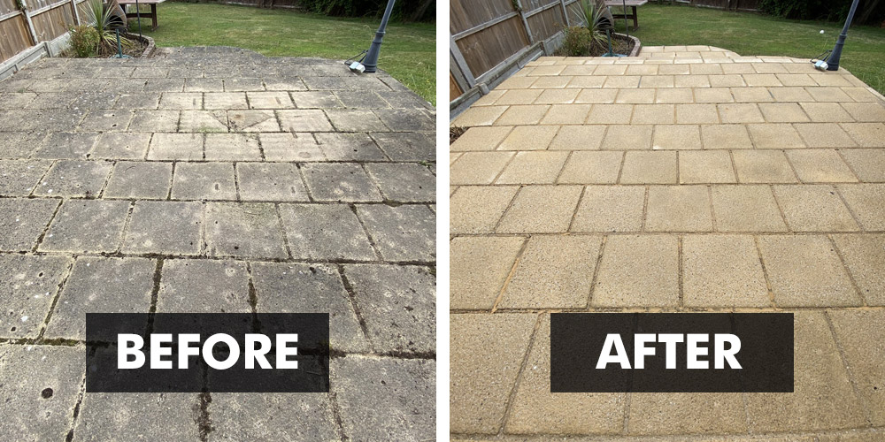 Before and After results with New Clean 60 Patio Cleaner