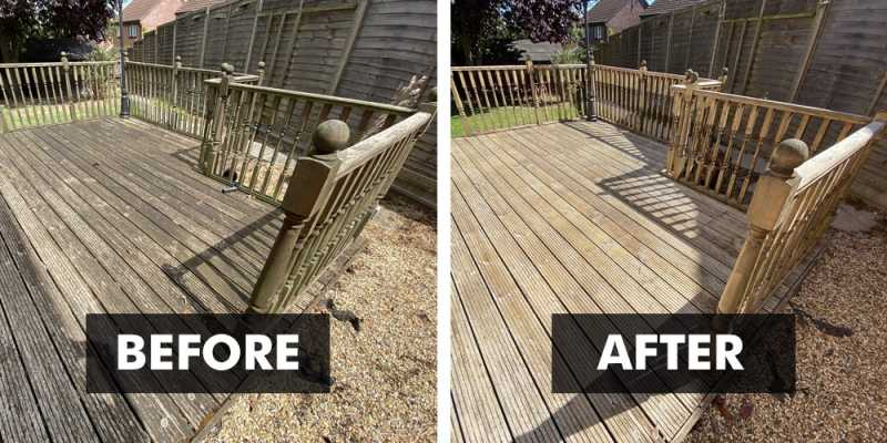 Before and After applying Deck Clean