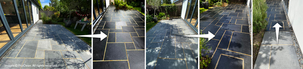 Universeal Enhance & Restore Limestone Sealer (before & after effect)
