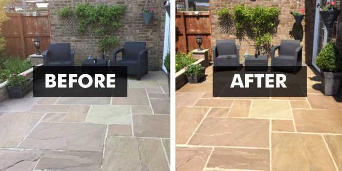 Before and After applying wet look patio sealer finish
