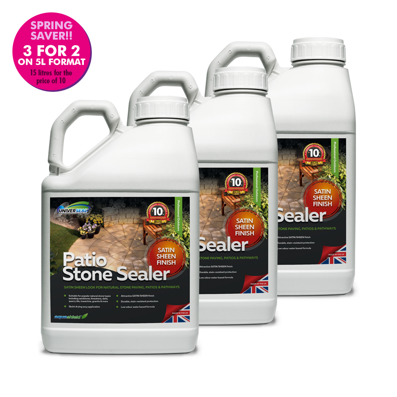 Universeal Patio Stone Sealer Satin Sheen Finish (Special offer 3 for 2: 3x5 Litre)