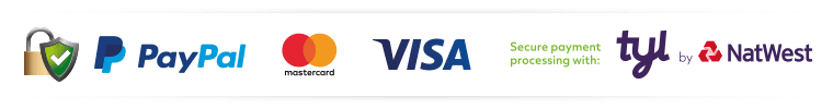 Shop securely with Paypal, Visa, Mastercard and more - we accept debt and credit cards