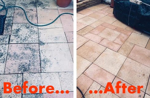 Before and After results with No More Black Spot patio cleaner